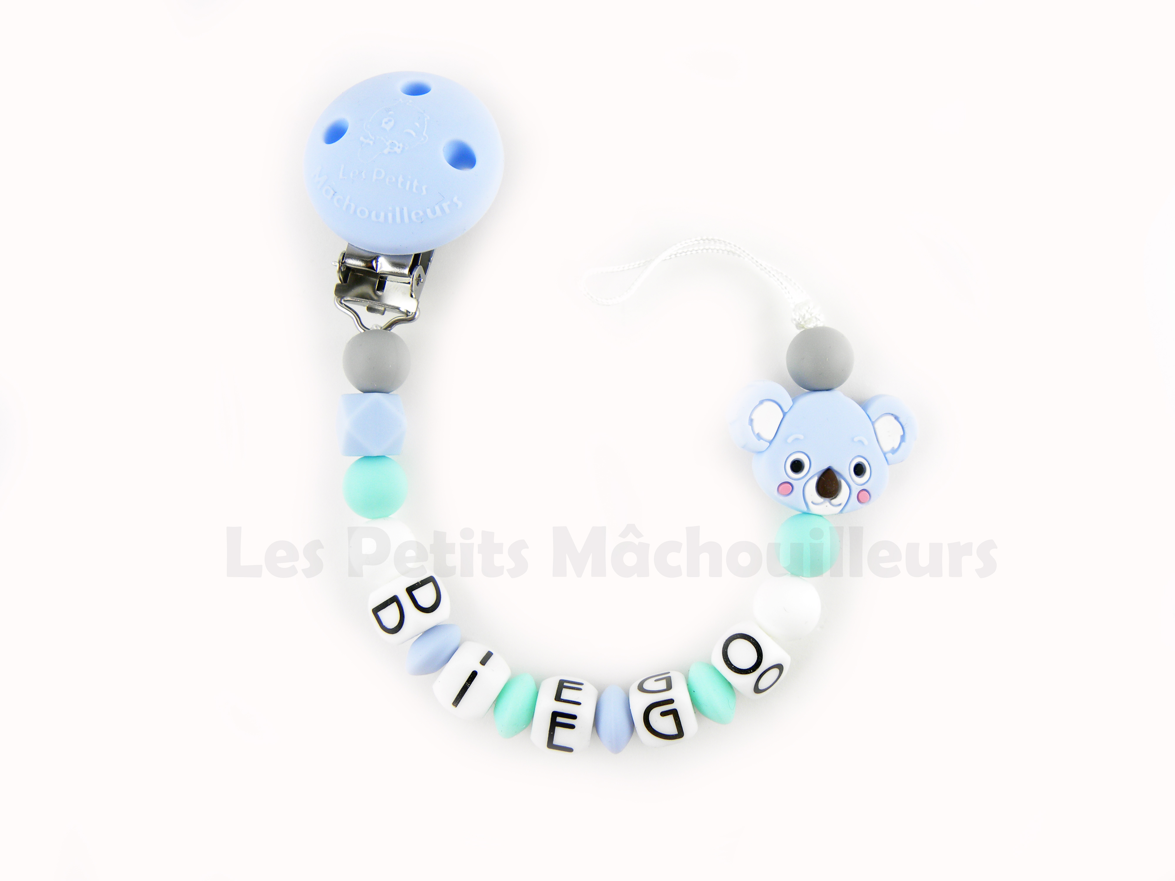 Attache tétine en silicone Koala bleu