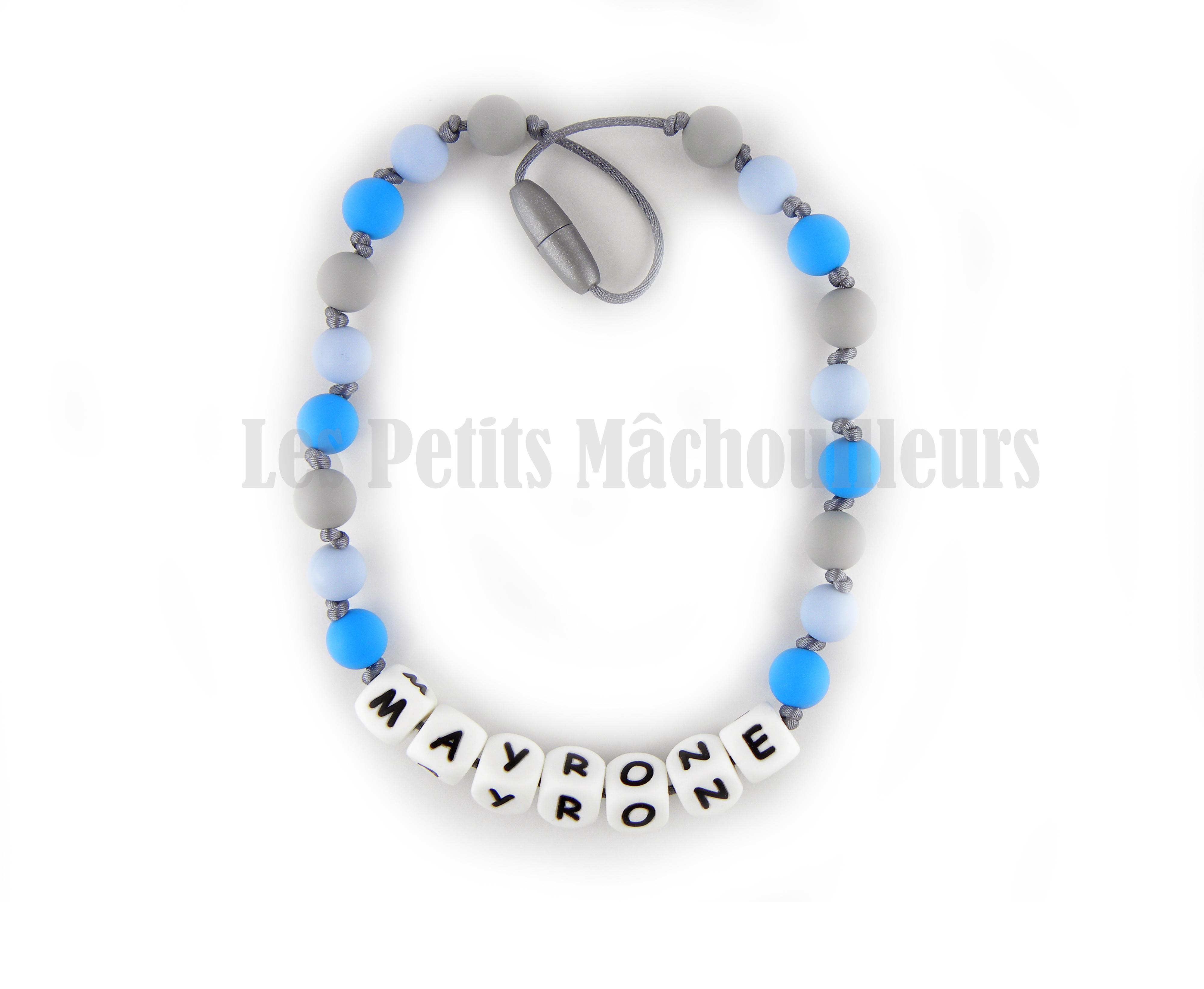 collier personnalisé pour enfant bleu