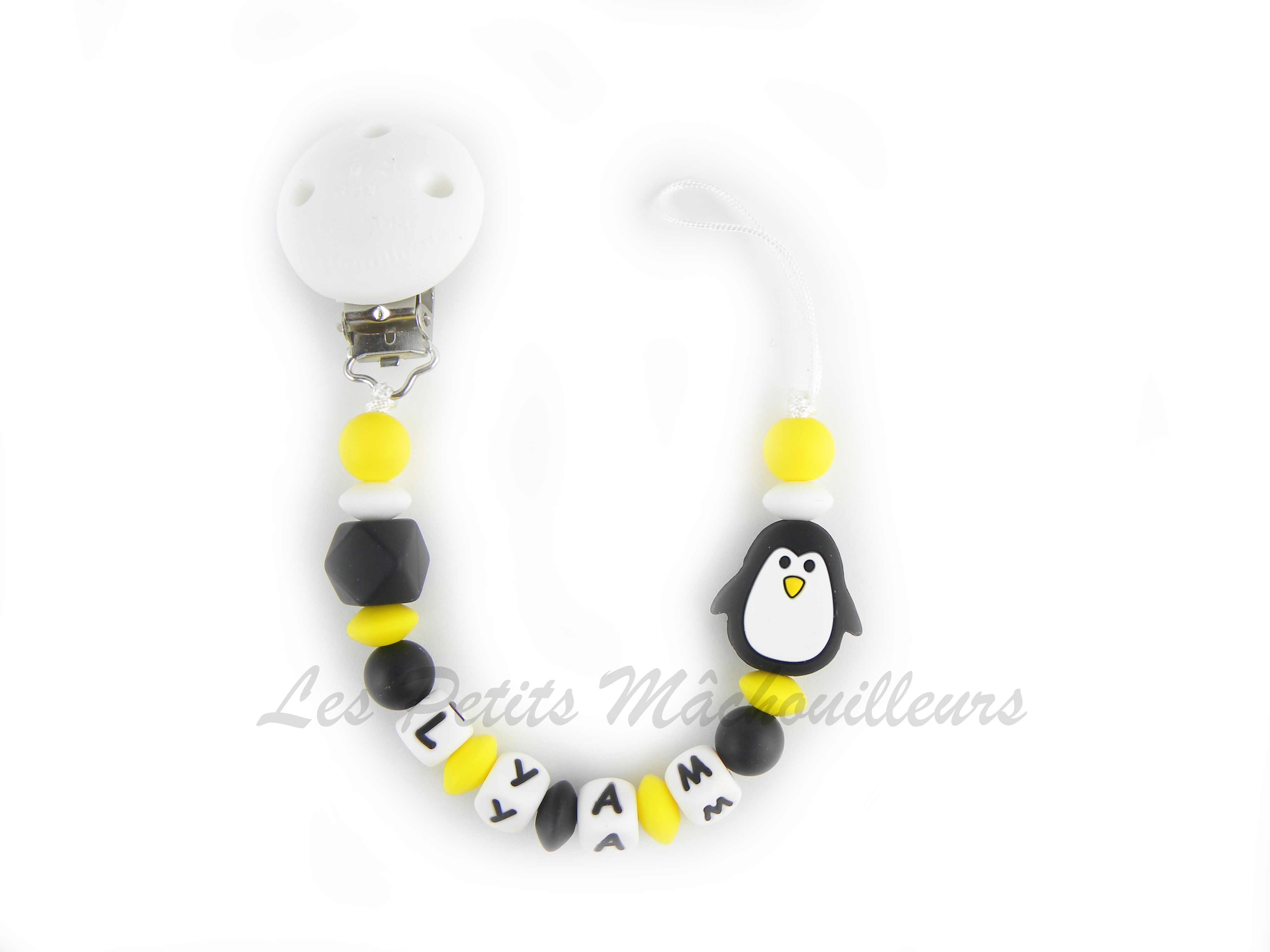 Attache tétine en silicone pingouin