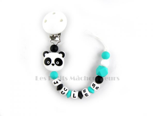 attache tétine en silicone panda