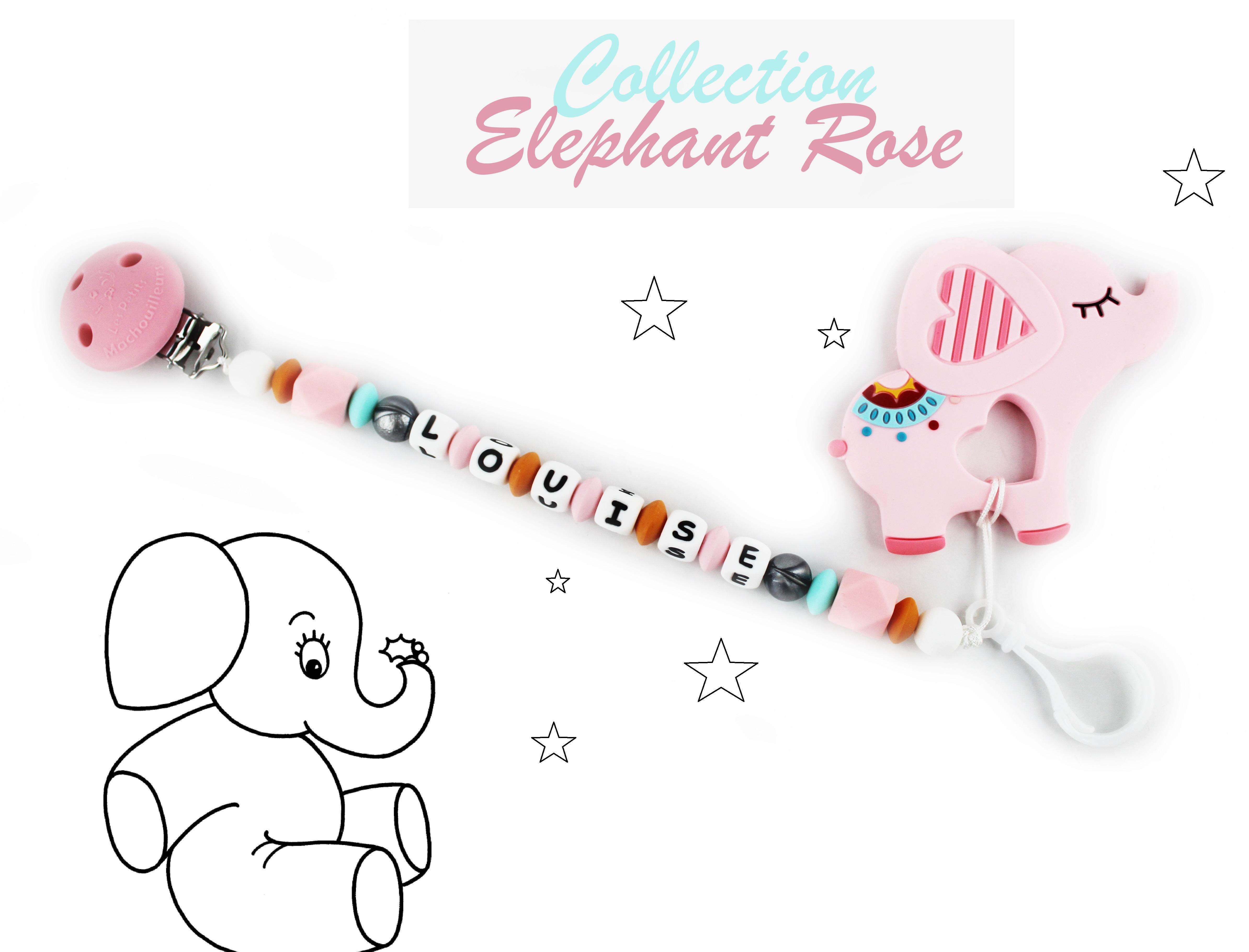 attache tétine duo et son jouet de dentiton éléphant rose en silicone