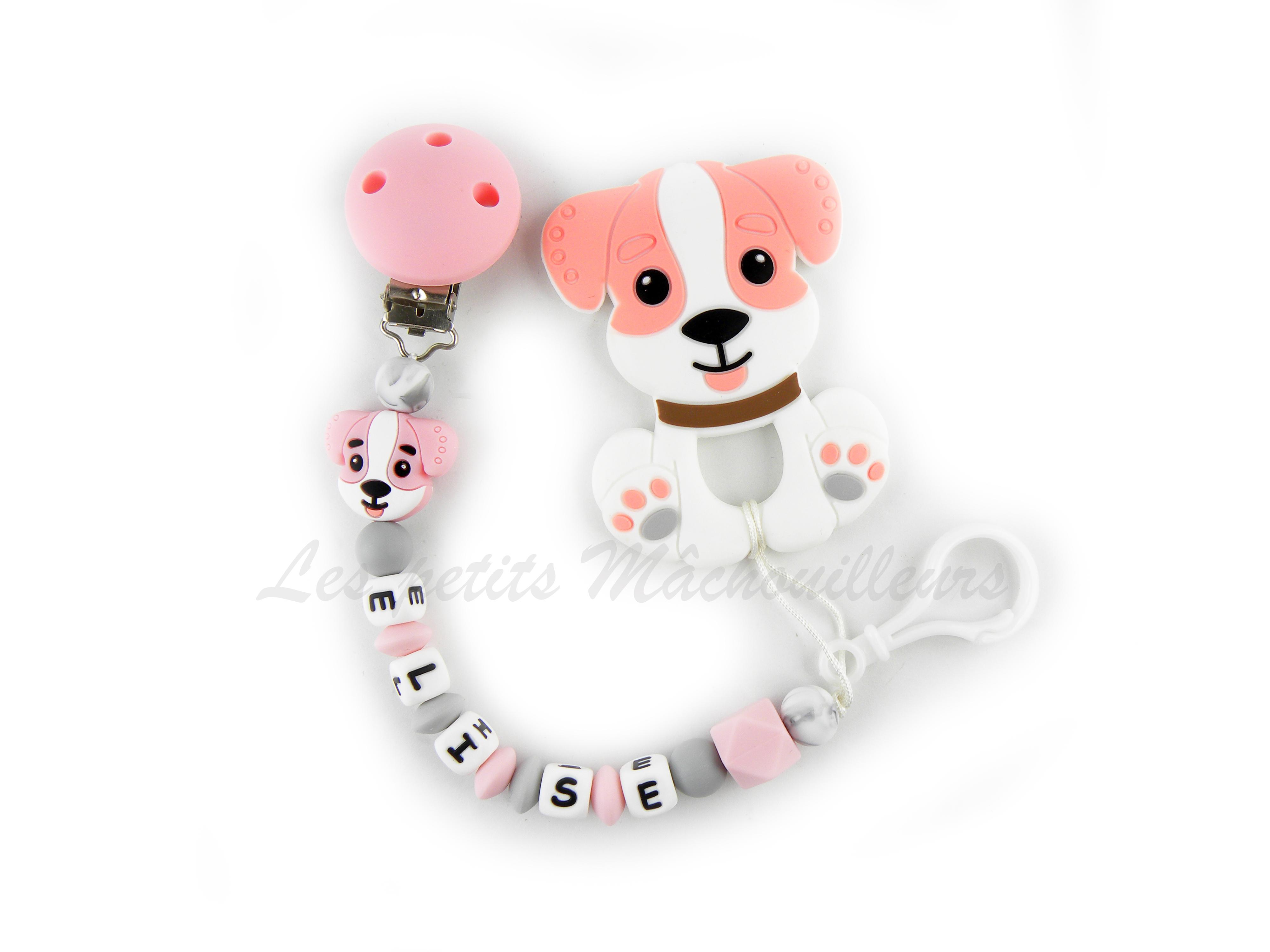 Attache tétine en silicone petit chien, jouet de dentition chien