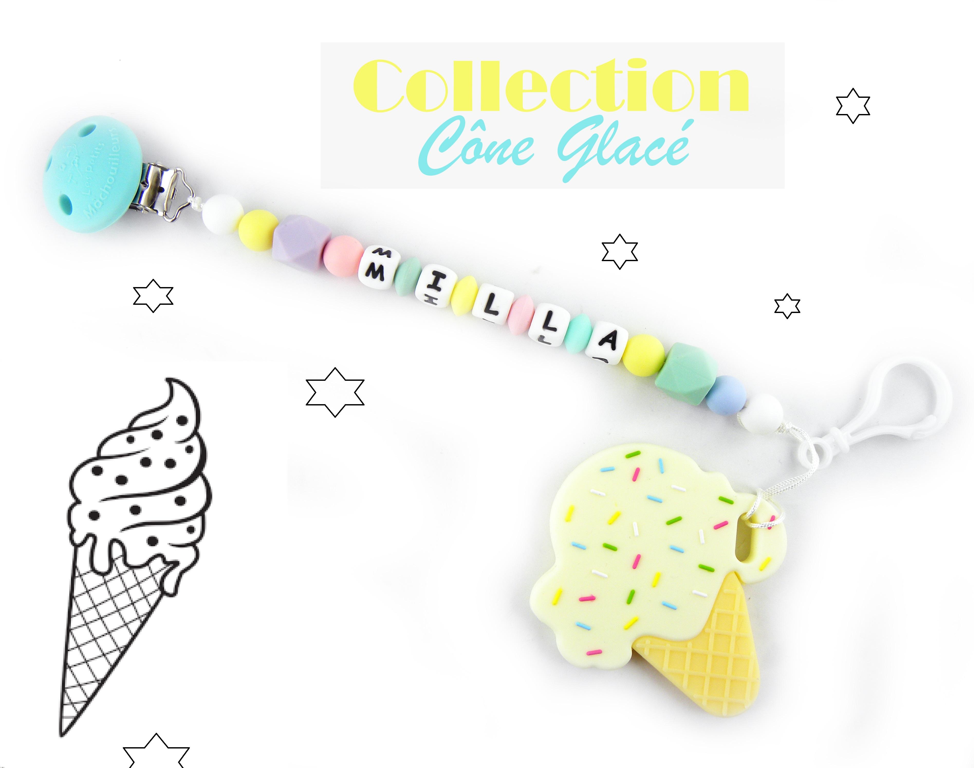 Attache tétine et son jouet de dentition glace en silicone