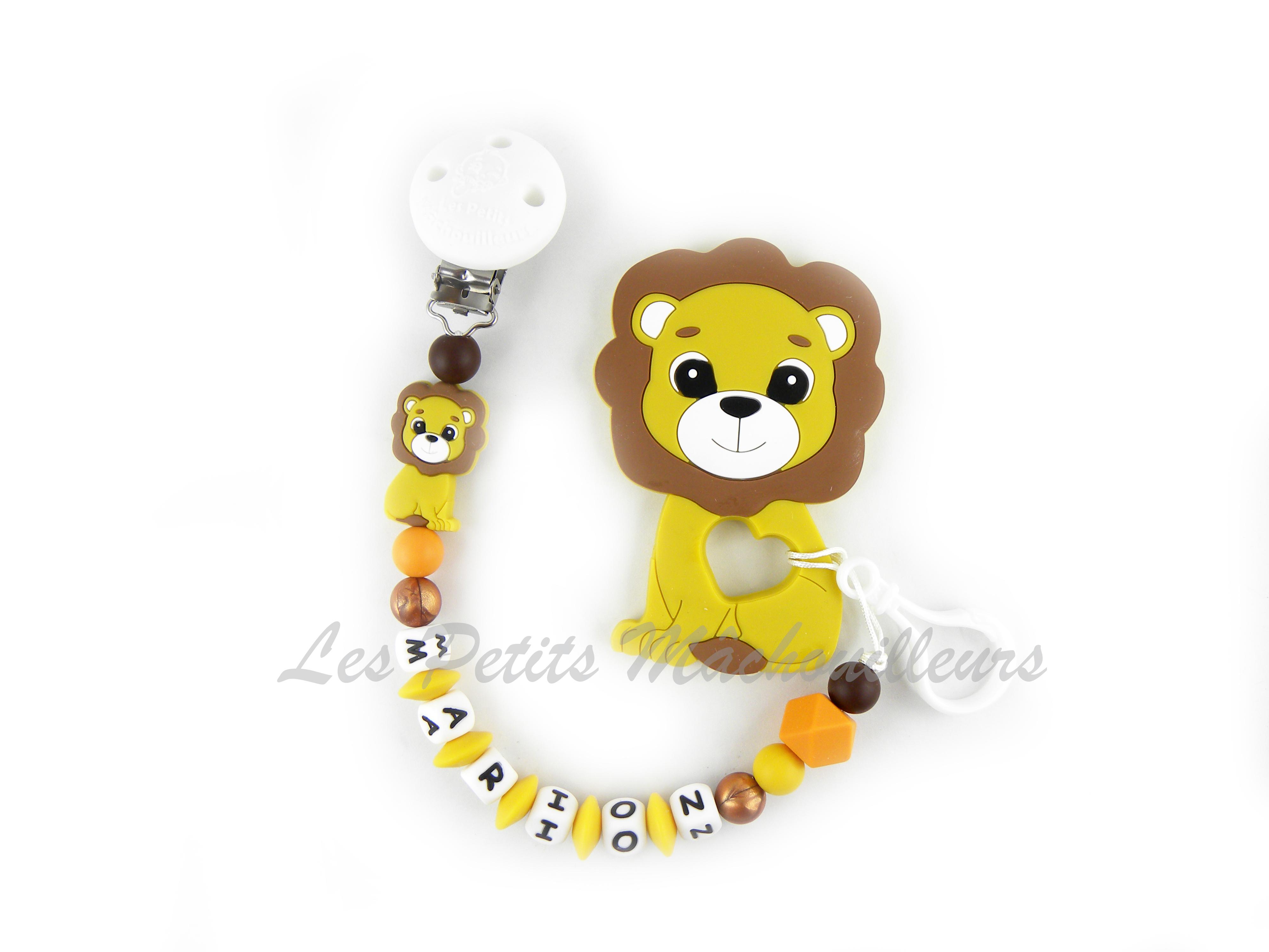attache tétine duo et son jouet de dentition lion en silicone