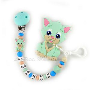 attache tétine en silicone et son jouet de dentition chat en silicone de couleur menthe