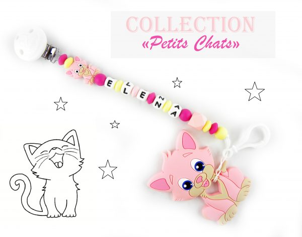 attache tétine en silicone et son jouet de dentition chat en silicone de couleur rose